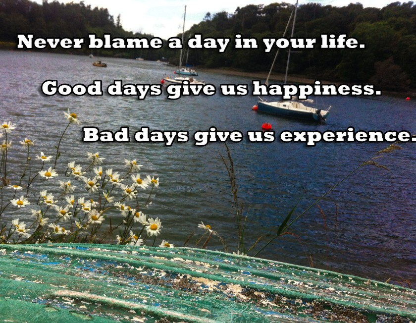 Good days give happiness, bad days give experience